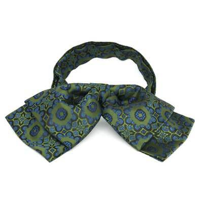 TieMart Avocado Green Emma Floral Pattern Floppy Bow Tie