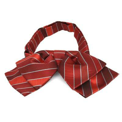 TieMart Red Douglas Stripe Floppy Bow Tie