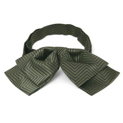 TieMart Dried Sage Kimberly Chevron Stripe Floppy Bow Tie