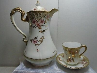Nippon Hand Painted Nippon Teapot Set Antique Heavy Gold Trim