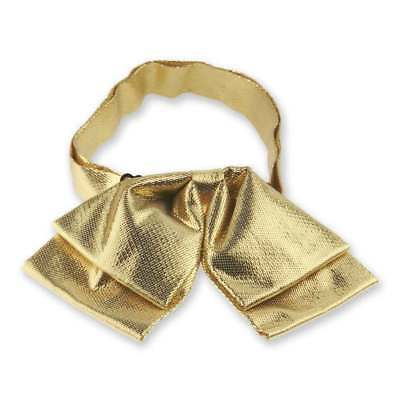 TieMart Gold Metallic Floppy Bow Tie