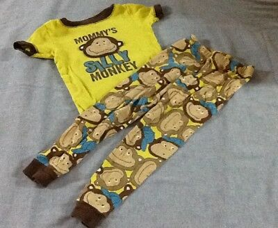 Carters Mommy's Silly Monkey Toddler Pajamas Size 2T Short Sleeve Snug Fit