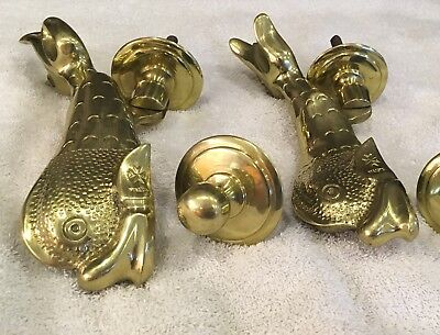 Pair of Antique Brass Fish Door Knockers by F. Abela & Sons, Malta