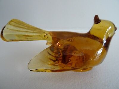 Vintage MOSSER Art GLASS DOVE BIRD Figurine AMBER