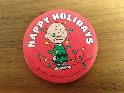 Charlie Brown Happy Holidays Pin 1950's Vintage