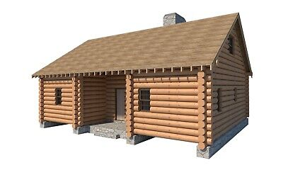 Log Cabin House With Loft Plans 5 Bedroom DIY Cottage 1365 sq/ft Build Your Own