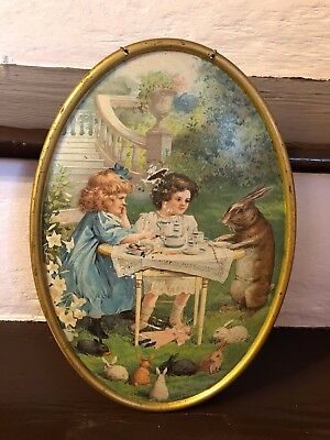 Easter C D Kenny Tin Litho Advertising Tray Easter Rabbit Tray