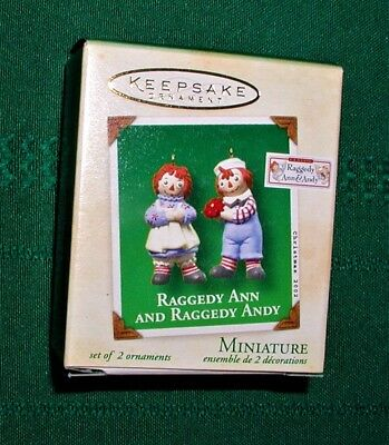 Hallmark 2 Miniature Ornaments RAGGEDY ANN & RAGGEDY ANDY 2002 NEW in box