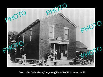 OLD LARGE HISTORIC PHOTO OF BRECKSVILLE OHIO, THE PO & RED BRICK STORE c1880
