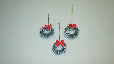 "Miniature Green Christmas Holiday Wreath sisal wired  w/red bow 1"" 3 pc pkg"