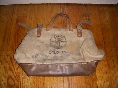 Vintage Klein Tools Canvas & Leather Bag 5102 12 Lineman