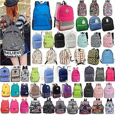Womens Girls Canvas Backpack Travel Rucksack Book School Satchel Shoulder Bag UK