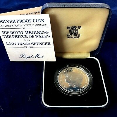 Great Britain 1981 CROWN SILVER PROOF ROYAL WEDDING OF DIANNA & CHARLES IN BOX