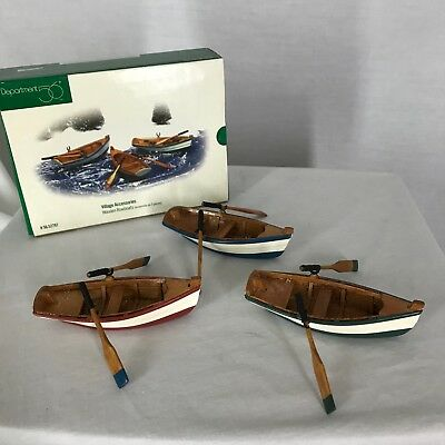 Dept 56 Wooden Rowboats Village Accessories 52797 Pre-Owned in Box
