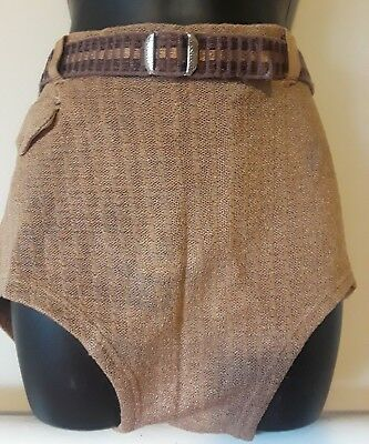 Vintage 1930s Mens Wool Knit Swim Suit Military Issue Bathing Suit Military