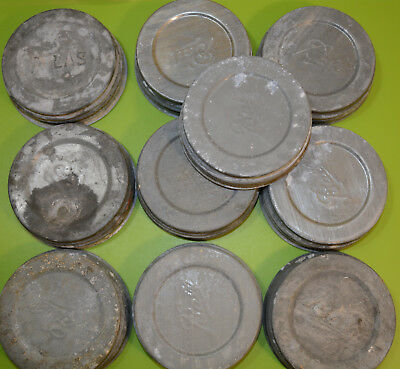 Old VTG Lot of 10 Zinc Canning Lids Mason Jar Wide Mouth Nice Age Character