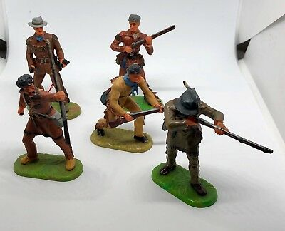 Hausser Elastolin Wildwest, 5 Figuren Konvolut, 7cm Cowboys, Trapper