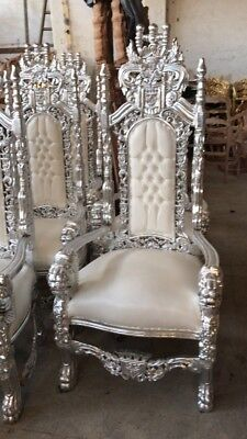 stunning pair of large king queen carved thrones ideal wedding hire Hire Or Sale