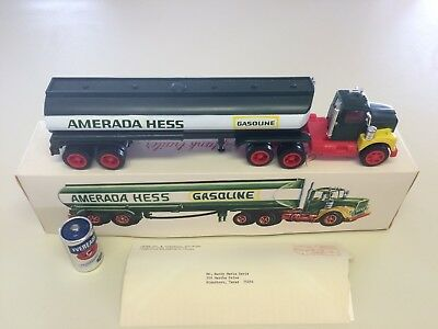 Extremely Rare 1969 Amerada Hess Collectible Truck, Box, Battery, Letter, MIB