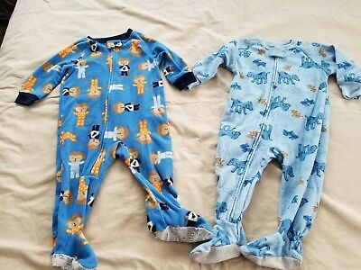 Lot of 2: Baby Boy 12 months Carter Footed Pajama Sleepers; Toddler Fuzzy Dogs
