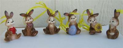 Goebel Porcelain Set of 6 Easter Bunny Rabbit Ornaments New with box Germany