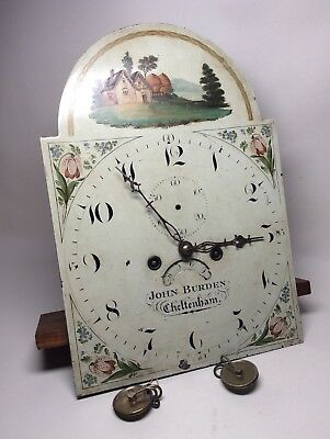 18th Century Painted Arch Dial Longcase Grandfather Clock Movement. Not Fusee