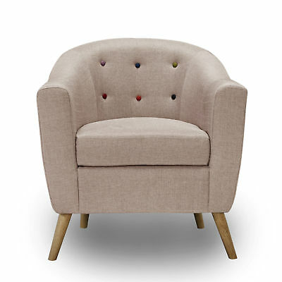 New Beige Fabric Arm Chair, Tub Chair With Wooden Legs Retro Look