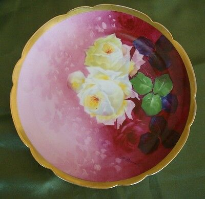 "Antique Limoges Hand Painted Signed ""broussillon"" Plate, Roses & Gold, 9"""