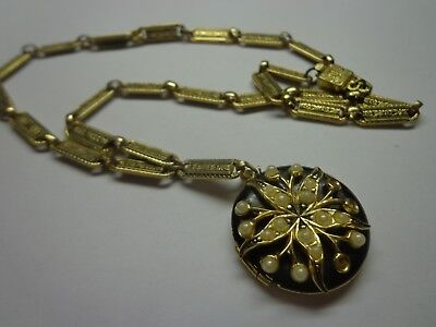 Antique Victorian Art Deco Necklace With Locket As Is Missing Stones 18 In