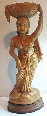 VINTAGE INDIAN WOOD CARVING - WOMAN with basket