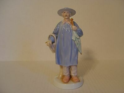 Andrea By Sadek Man With Smock Carrying Umbrella And Duck Porcelain Figurine