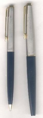 Vintage Parker 45 Fountain Pen And Mechanical Pencil Set Blue And Gold