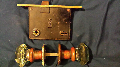 ANTIQUE RUSSWIN Mortise Lock Brass w/ 2 crystal glass door knobs and escucheons