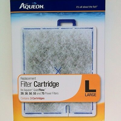 "Aqueon Filter Cartridge Pad Quiet Flow 20 30 50 55 75  Large Size ""L""  3 Pack"