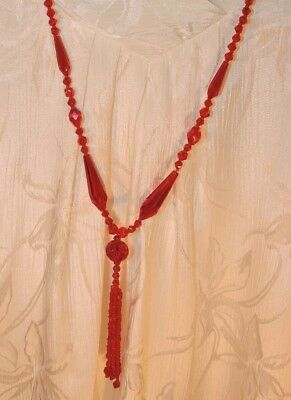 """Vintage Antique Flapper Necklace Art Deco Red Glass Beads 17-1/2"""" Doubled - Nr"""