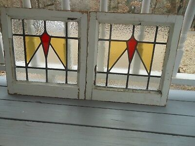 DUR-258 Lovely Older Leaded Stained Glass Window From England 2 Available