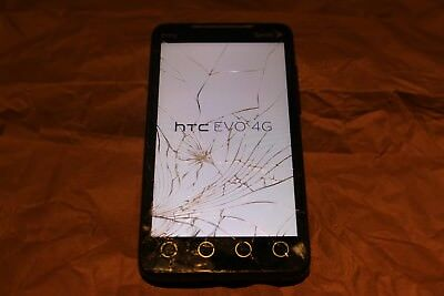 HTC EVO 4G - 8GB MicroSD - Black (Sprint) Smartphone - CRACKED DISPLAY