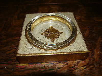 Vtg Gold Gilt CE Italian Toleware Wood Glass Desk French Country Library Coaster