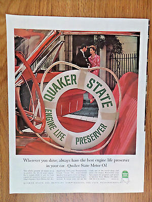 1962 Quaker State Motor Oil Ad Best Engine Life Preserver in Your Car