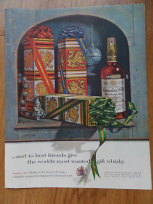 1959 Canadian Club Whiskey Ad Christmas Theme