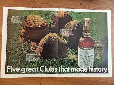 1968 Canadian Club Whiskey Ad Baseball Football Helmets  1902 1921 1923 1895