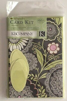 Amy Butler Card Kit K & Company New 60 piece Lotus Olive Lacework New in Package