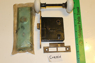 Antique CORBIN Door Lock w/White Porcelain Knobs Back Plates Keeper  NO KEY