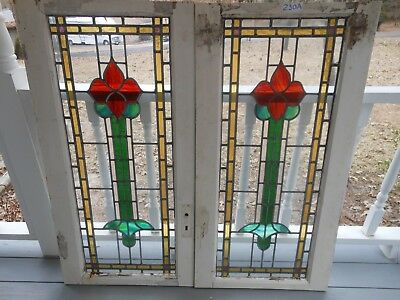 Y-230 Older & Beautiful LARGE TWO Leaded Stained Glass Windows From England