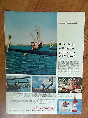 1960 Canadian Club Whiskey Ad Pole-Walking in Caribean