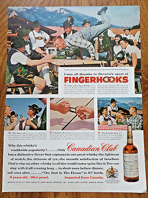 1956 Canadian Club Whiskey  Ad   Bavaria Sport of Fingerhooks Fingerhakelm