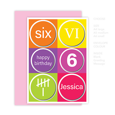 Personalised 6th Happy Birthday Card For Girl Edit Name Colourful 6 Numbers
