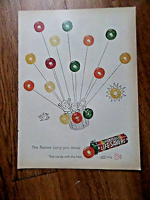 1959 Life Savers Candy Ad  The Flavors Carry You Away Ballooning