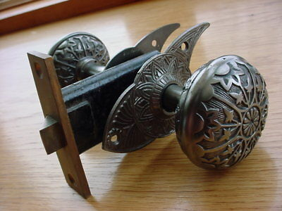 Eastlake Victorian Interior Door Knob Set with Escutcheons & Passage Lock Set