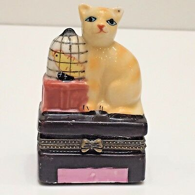 """Cat & a Bird Cage Porcelain Hinged Trinket Box, 3.25"""" Tall, Gift, Used no Box"""